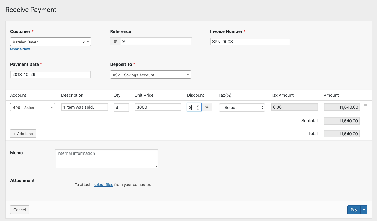 creating payment receipts