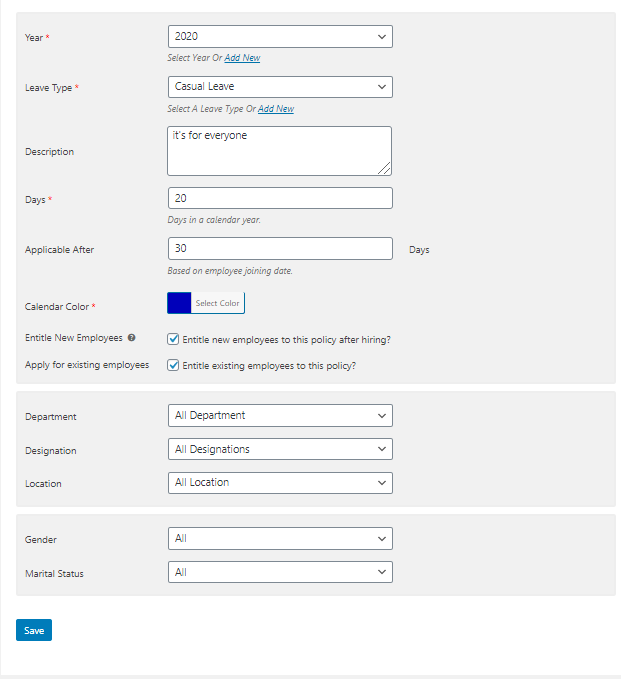 employee leave management system Policy Form Creating