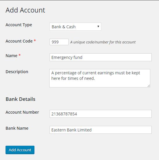 add bank account