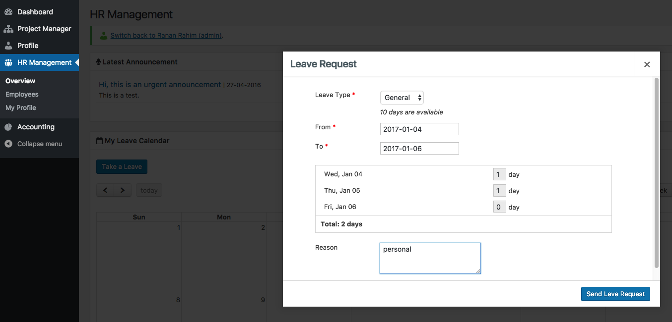 Create Leave Requests