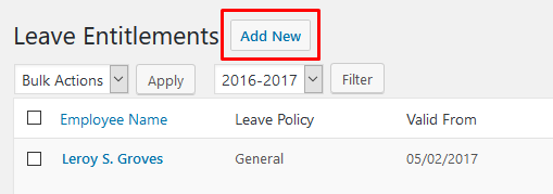 wp erp hrm leave entitlement add new