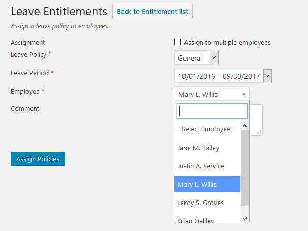 wp erp hrm leave entitlements
