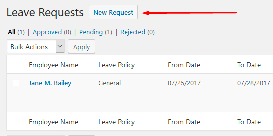 wp erp hrm leave request add new