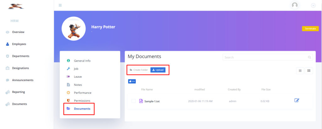 Create or upload documents for employees