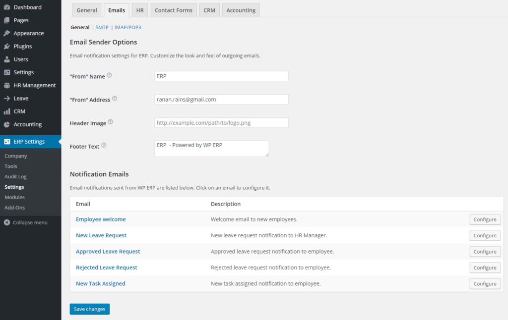 erp email notification settings