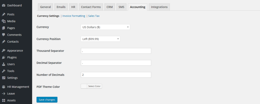 wperp accounting settings