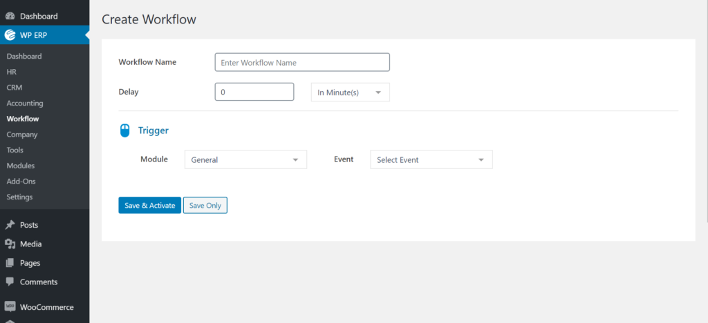 Create Workflow page