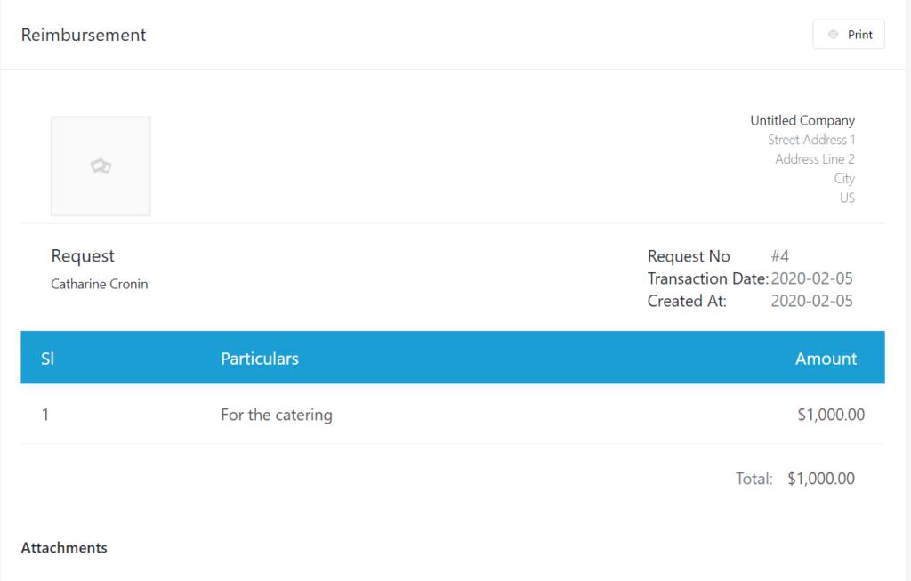 Invoice page_user WP ERP Reimbursement