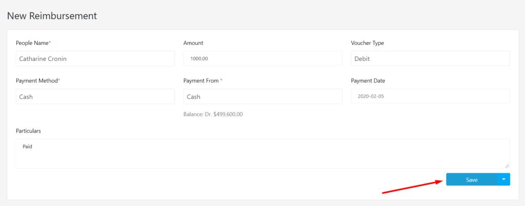 Save Button_New Reimbursement WP ERP Reimbursement