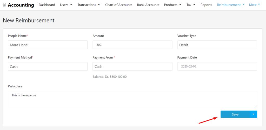 Save button to create reimbursement