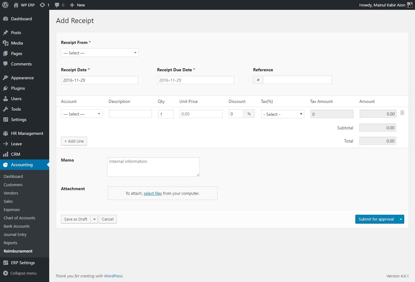 how to install use wordpress reimbursement manager plugin for wp erp