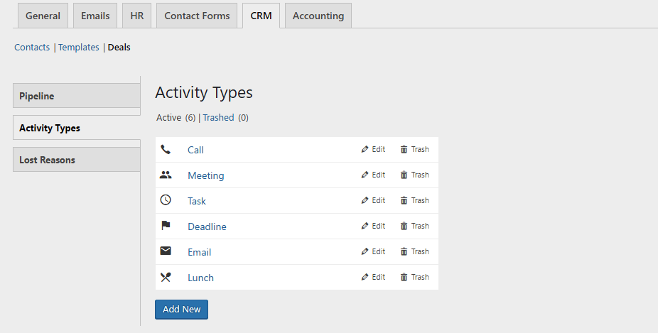 activity types. deal management system