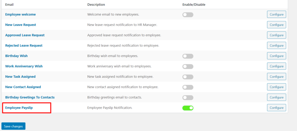 Enable Employee Payslip