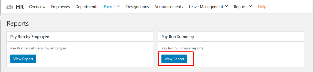 Pay run summary report
