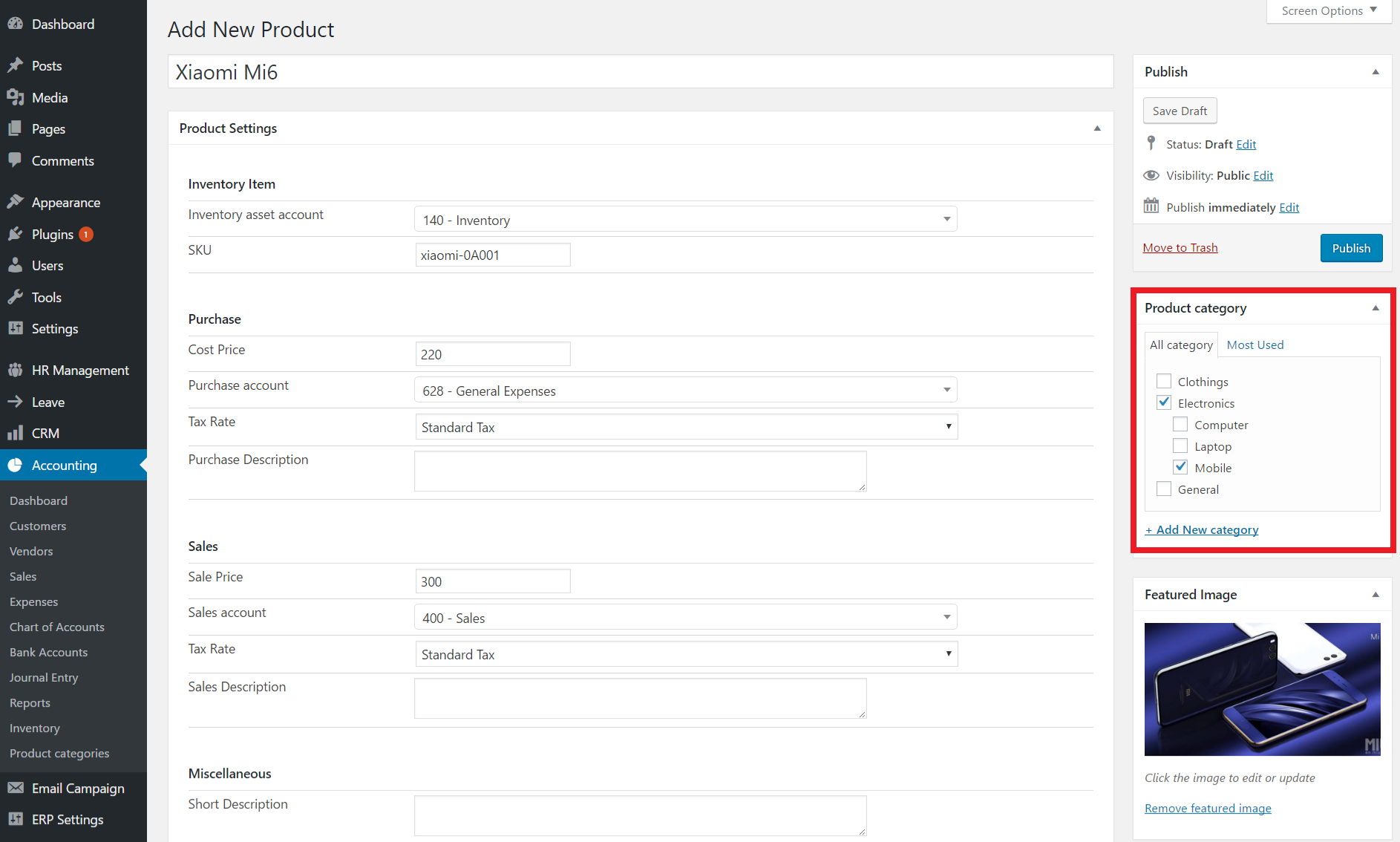 create product category