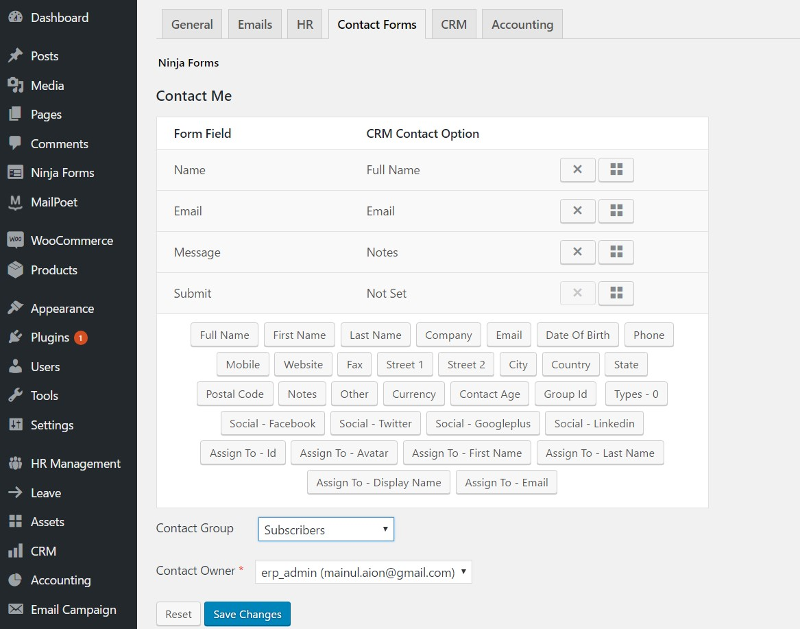 Integration with Contact Form 7, Ninja Forms and Gravity Forms