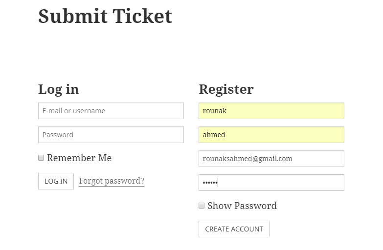 Submit ticket for customer management solution
