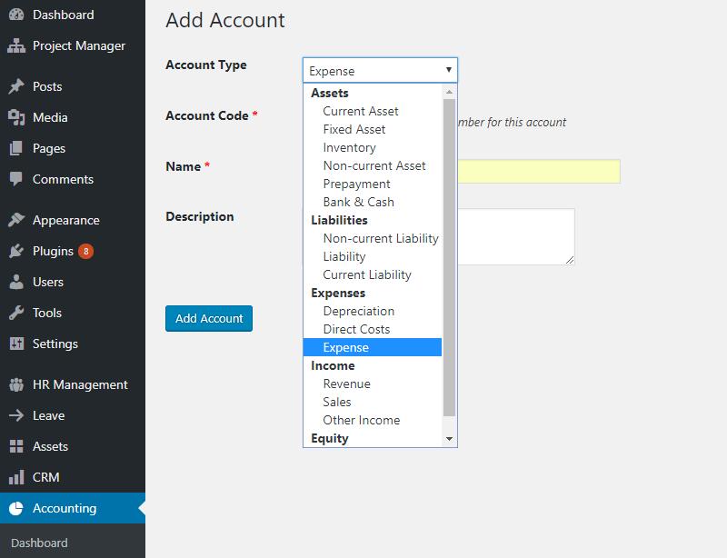 WordPress Accounting plugin