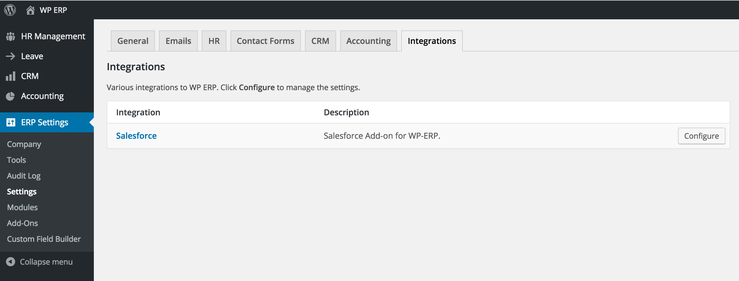 Salesforce Integration with WP ERP