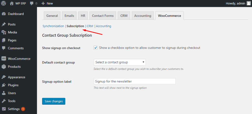 WP_ERP subscription