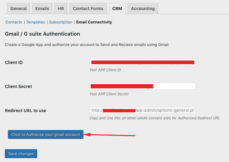 How to configure Gmail API connection in the CRM settings