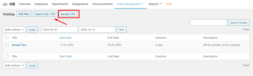 Importing holidays from CSv or Ical