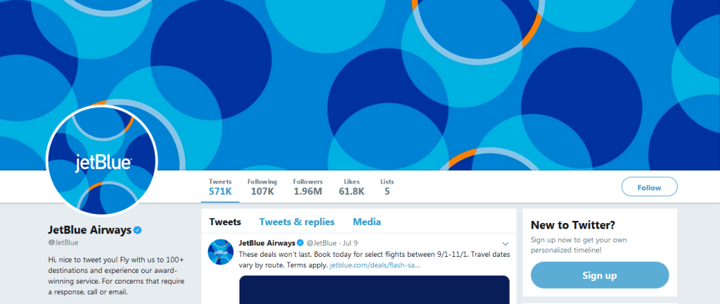 Check JetBlue Airways page and learn how to use Twitter effectively