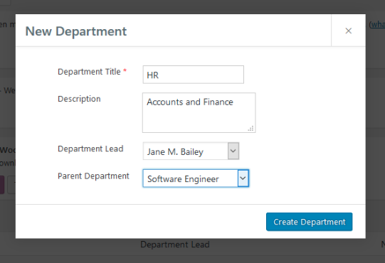 How to add Department