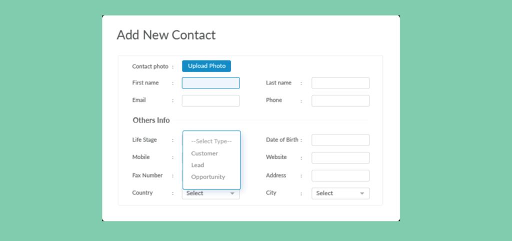 contact managment - website crm integration
