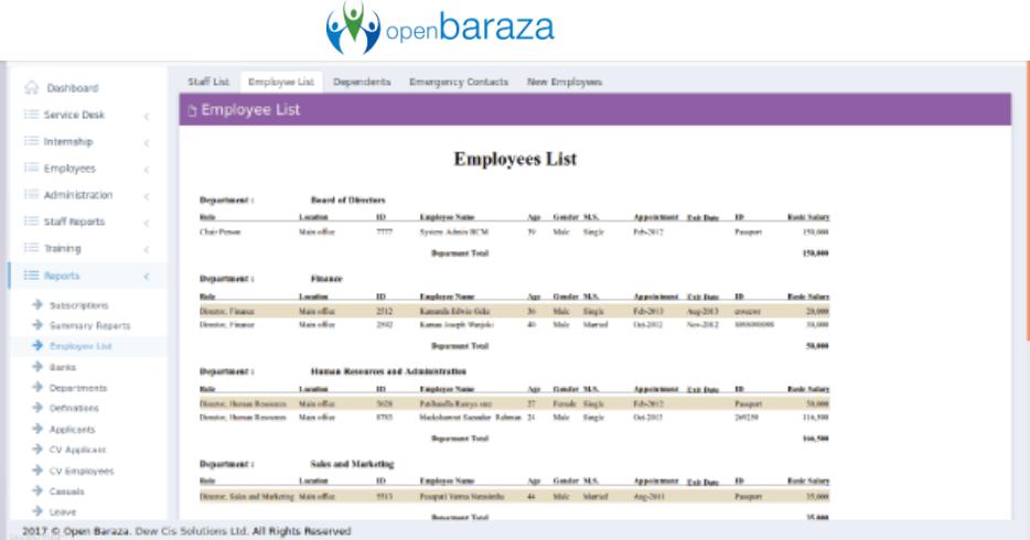Baraza open source hcm