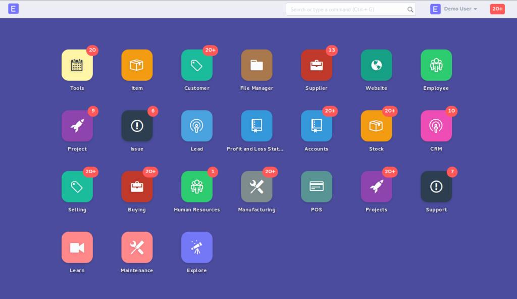 dashboard for enterprise resource planning software