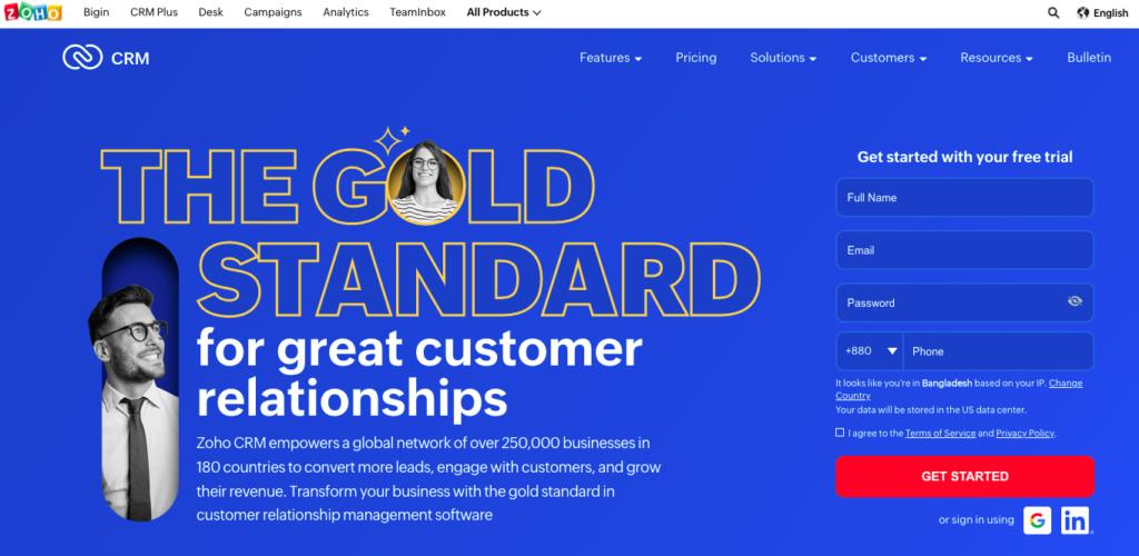 Zoho CRM customer management software
